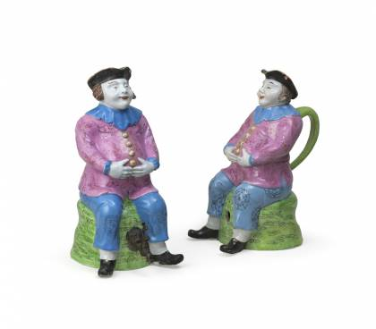 Two Famille Rose ŒSeated Dutchman Flasks